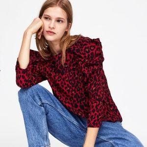 Zara Leopard Print Drape Ruffle Puff Sleeve Shirt